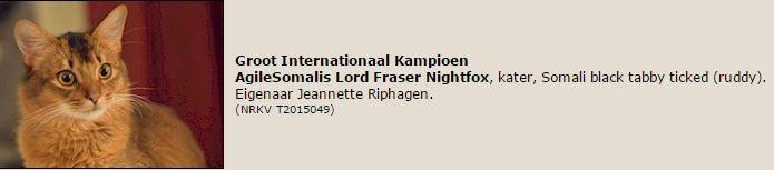 titelregistratie Gr. internationaal Kampioen Lord Fraser